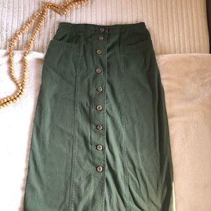 Olive Green denim skirt